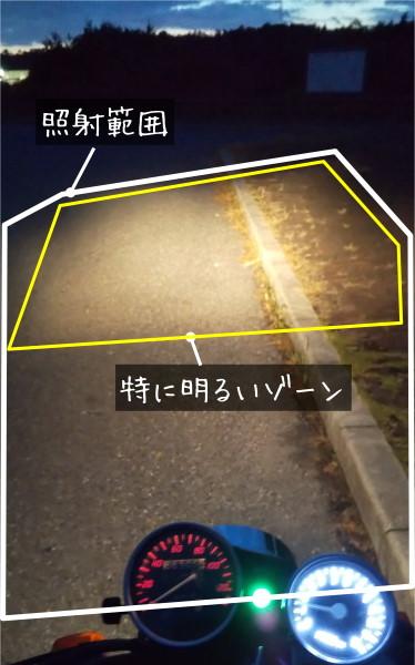 FTR223ヘッドライトの照射範囲確認写真